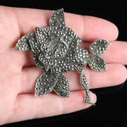ANTIQUE VICTORIAN MARCASITE SILVER ROSE BROOCH CIRCA 1900