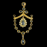 BLUE TOPAZ PENDANT DIAMOND PEARL 18CT GOLD ON SILVER