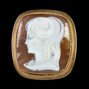 BULLMOUTH SHELL CAMEO PORTRAIT BROOCH 9CT GOLD DATED 1965