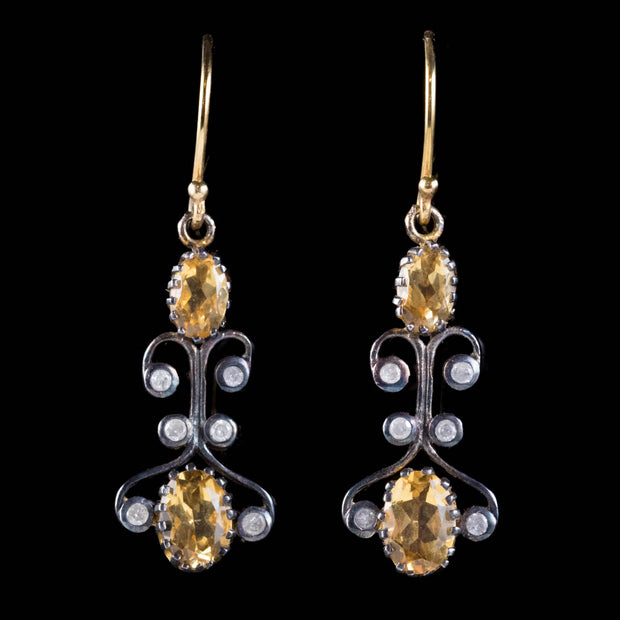 CITRINE DIAMOND DROP EARRINGS SILVER 9CT GOLD