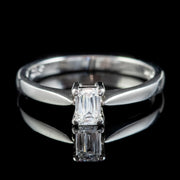 DIAMOND SOLITAIRE ENGAGEMENT RING PLATINUM 0.37CT SCISSOR CUT DIAMOND WITH CERT