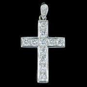 Diamond Cross Pendant 18ct White Gold 0.90ct Of Diamond