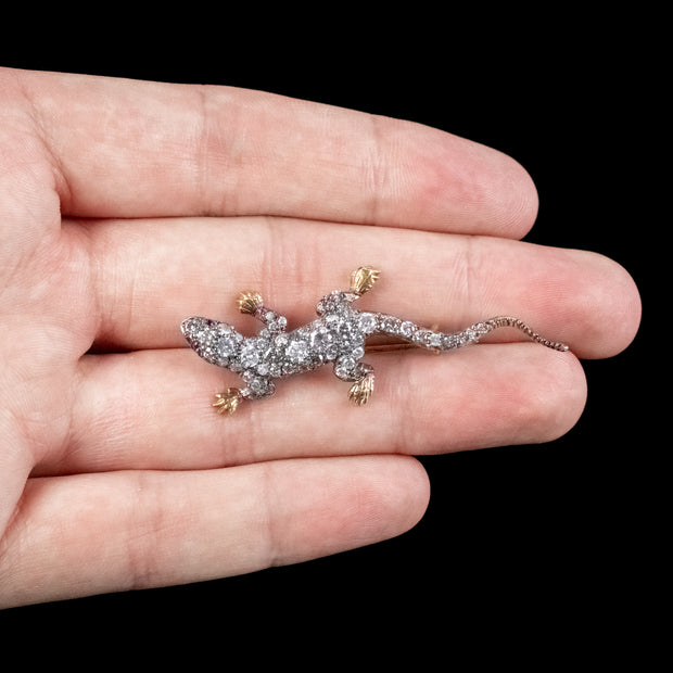 Diamond Lizard Brooch 2ct Of Diamond Ruby Eyes