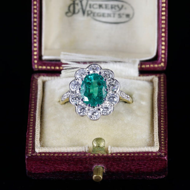 EMERALD DIAMOND ENGAGEMENT RING 3.20CT EMERALD 1.60CT DIAMOND