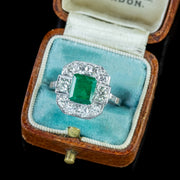 EMERALD DIAMOND RING PLATINUM 1.80CT EMERALD 1.40CT DIAMOND