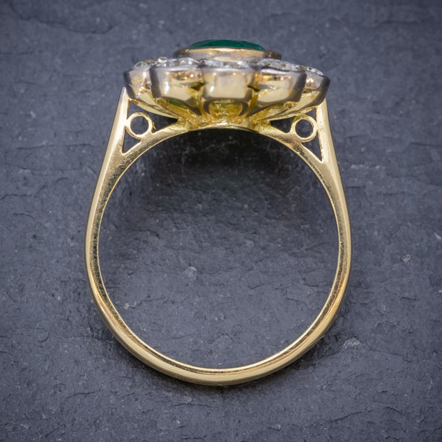 EMERALD DIAMOND CLUSTER RING 18CT GOLD 1.80CT EMERALD