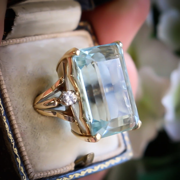 VINTAGE 26CT AQUAMARINE RING 14CT YELLOW GOLD