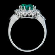 Edwardian Style Emerald Diamond Cluster Ring 2ct Emerald
