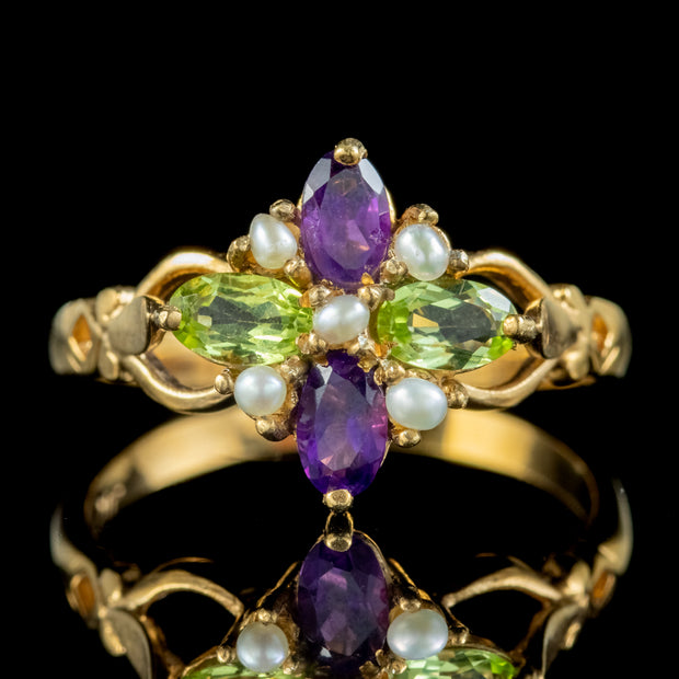 Edwardian Suffragette Style Cluster Ring Pearl Peridot Amethyst