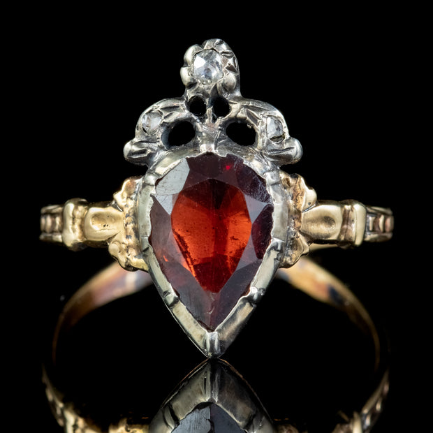 Flat Cut Garnet Diamond Ring 18ct Gold Silver 1.80ct Garnet front