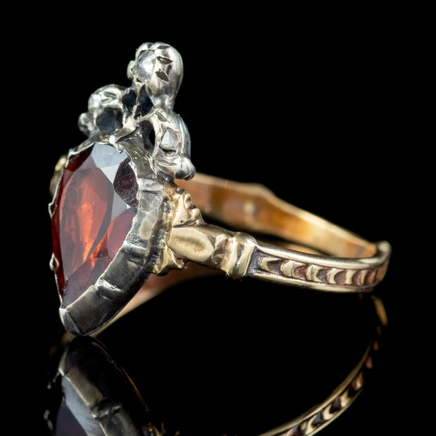 Flat Cut Garnet Diamond Ring 18ct Gold Silver 1.80ct Garnet side