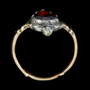 Flat Cut Garnet Diamond Ring 18ct Gold Silver 1.80ct Garnet top