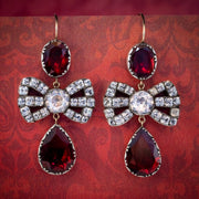 Flat Cut Garnet Paste Bow Earrings Silver Gold Wires