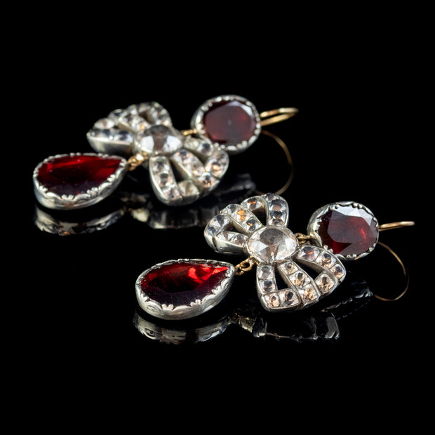 Georgian Style Flat Cut Garnet Paste Bow Earrings Silver Gold Wires