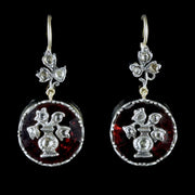 GEORGIAN FLAT CUT GARNET DROP EARRINGS 18CT GOLD SILVER DIAMOND FLOWERS