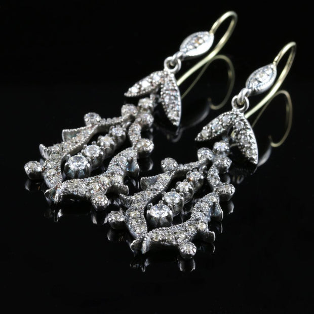 VICTORIAN LONG PASTE SILVER/GOLD BEAUTIFUL EARRINGS