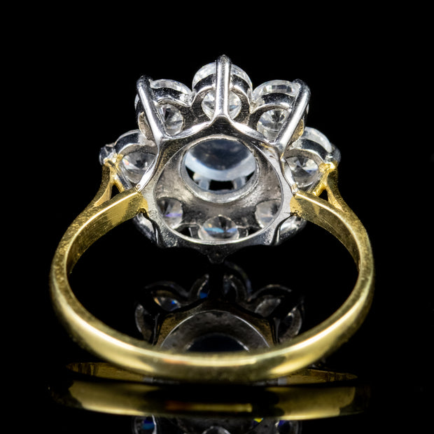 MOONSTONE PASTE FLOWER RING 18CT GOLD ON SILVER