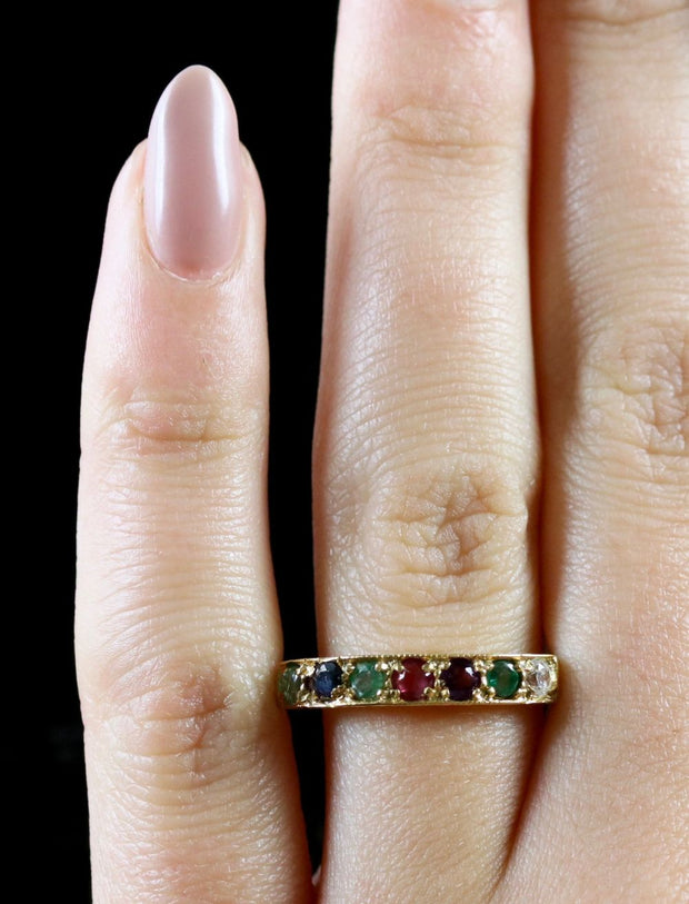 MULTI GEMSTONE RING DEAREST 18CT GOLD ON SILVER RING