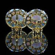 OPAL CLUSTER EARRINGS SILVER 18CT GOLD GILT STUDS