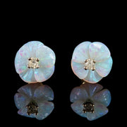 OPAL DIAMOND FLOWER STUD EARRINGS 9CT YELLOW GOLD