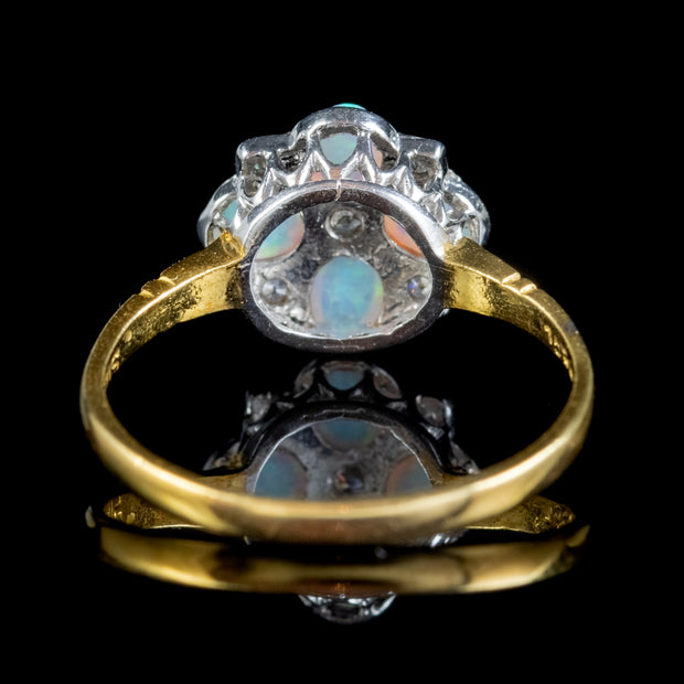 OPAL CZ CLUSTER RING SILVER 18CT GOLD GILT