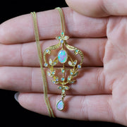 OPAL FLORAL PENDANT CHAIN 18CT GOLD ON SILVER