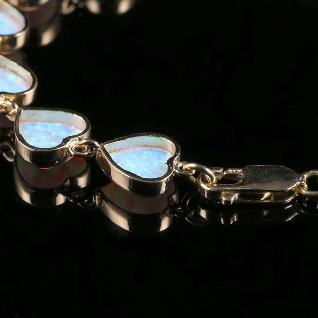 OPAL HEART BRACELET 9CT YELLOW GOLD