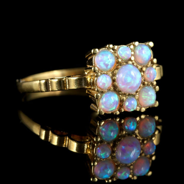 OPAL SQUARE RING 18CT GOLD ON SILVER RING