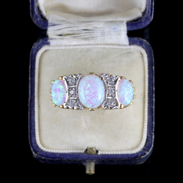 OPAL TRILOGY RING 18CT GOLD ON SILVER