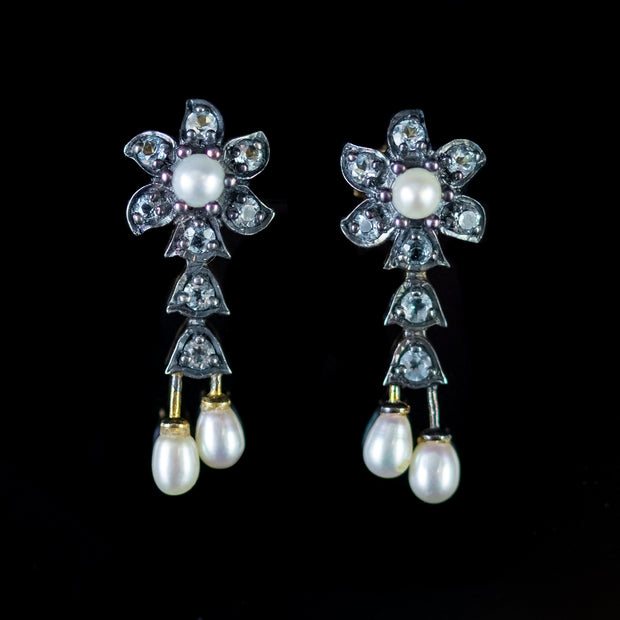 PEARL STUD EARRINGS WHITE TOPAZ 18CT GOLD ON SILVER