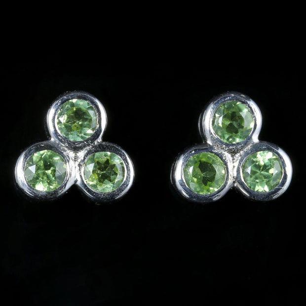 PERIDOT WHITE GOLD CLUSTER EARRINGS 9CT WHITE GOLD