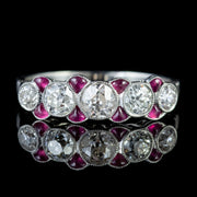 RUBY DIAMOND RING 18CT WHITE GOLD ETERNITY RING 0.85CT OLD CUT DIAMOND