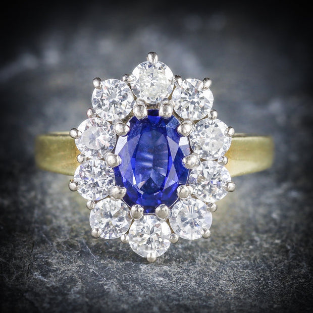 SAPPHIRE DIAMOND CLUSTER ENGAGEMENT RING 18CT GOLD 1.80CT SAPPHIRE
