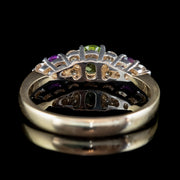 Edwardian Suffragette Style Ring Peridot Amethyst Diamond 9ct Gold