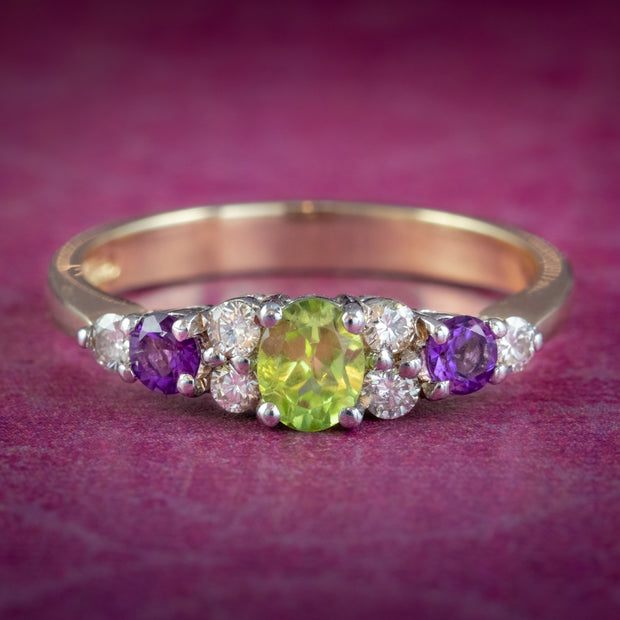 Suffragette Ring Amethyst Peridot Diamond 9ct Gold