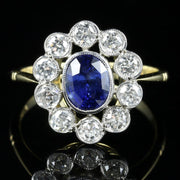 SAPPHIRE DIAMOND CLUSTER RING 18CT GOLD ENGAGEMENT RING