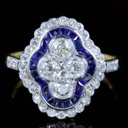 SAPPHIRE DIAMOND CLUSTER RING FRENCH CUT SAPPHIRES 18CT GOLD