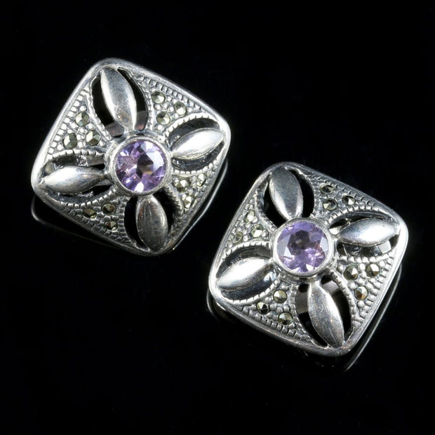 AMETHYST MARCASITE CLIP STERLING SILVER EARRINGS