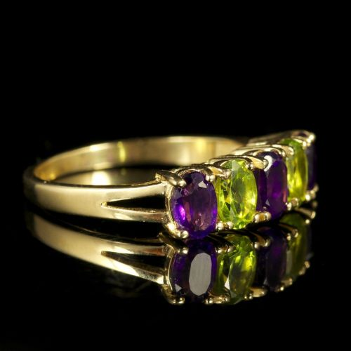 Edwardian Suffragette Style Ring Amethyst Peridot 9ct Gold
