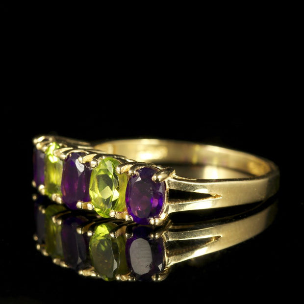 SUFFRAGETTE RING AMETHYST PERIDOT 9CT GOLD BAND RING