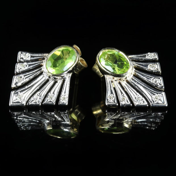 PERIDOT AND DIAMOND FAN EARRINGS 9CT GOLD