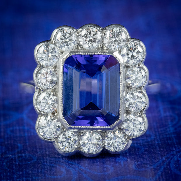 Art Deco Style Tanzanite Diamond Cluster Ring 3.50ct Tanzanite