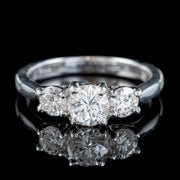Vintage Diamond Trilogy Engagement Ring 18ct White Gold 1.10ct Of Diamond