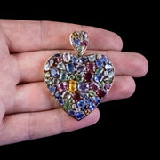 Vintage Harlequin Heart Pendant Sapphire Ruby Diamond 9ct Gold With Cert