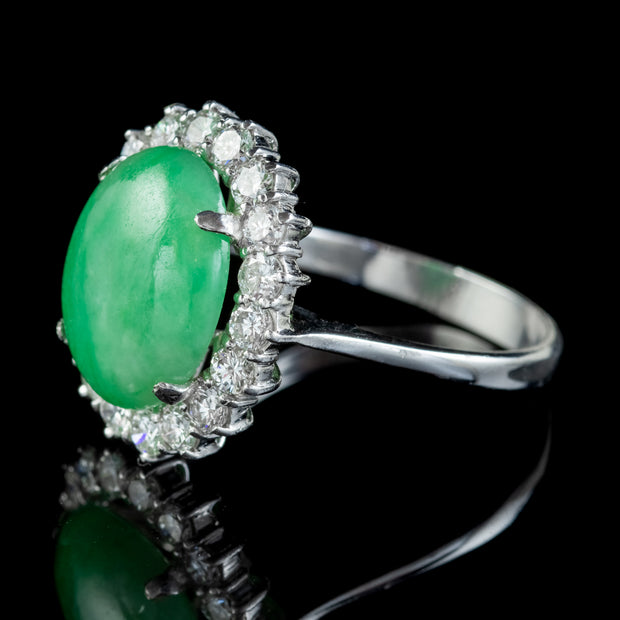 Vintage Jade Diamond Cluster Ring 18ct White Gold 8ct Jade 1.50ct Of Diamond