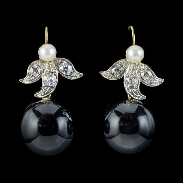 Art Deco Style Onyx Diamond Pearl Earrings 18ct Gold Platinum