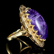 VINTAGE 50CT CABOCHON AMETHYST SILVER GOLD GILT GALLERY DATED 1972