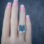 VINTAGE AQUAMARINE DIAMOND COCKTAIL RING PLATINUM 20CT EMERALD CUT AQUA