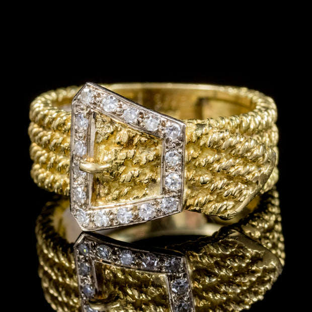 VINTAGE DIAMOND BUCKLE RING SOLID 18CT GOLD