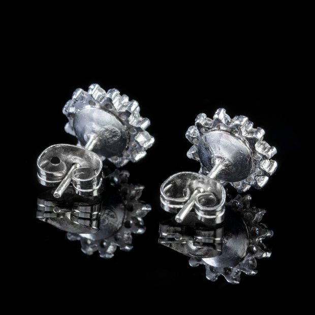 VINTAGE DIAMOND CLUSTER EARRINGS 18CT WHITE GOLD 1.65CT DIAMOND DATED 1977 CERT